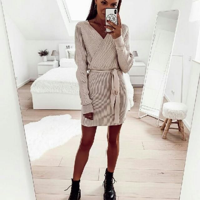 chic long sleeve belted sweater dress