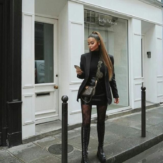 for a stylish and elegant look try a black blazer with turtleneck sweater and faux leather mini skirt and long boo…
