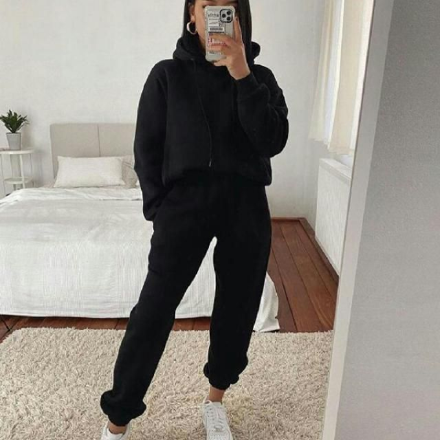 cool and comfortable black hoodie with black pants