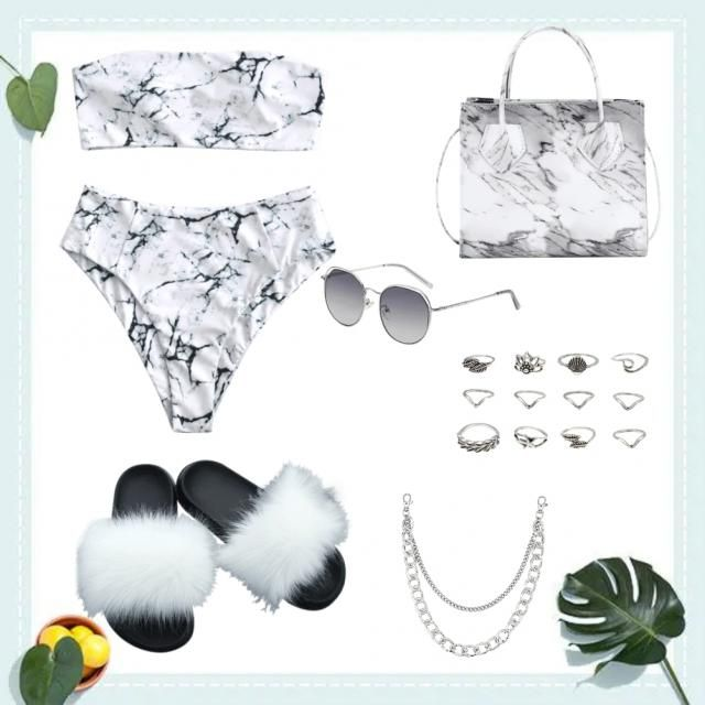 Cute Beach Party Outfit~{Marble Theme} I hope you like it 🤍✨