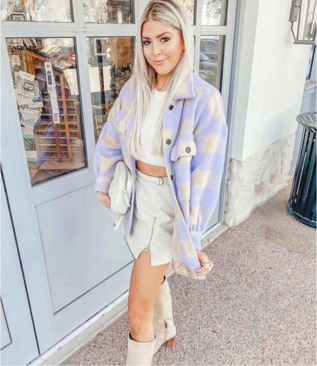 Plaid jacket is my favourite and specially with mini skirt