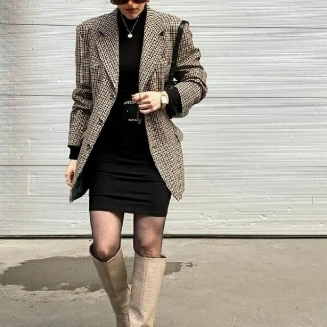 Plaid long blazer over black long sleeved mini dress and high suede boots create a gorgeous classy style