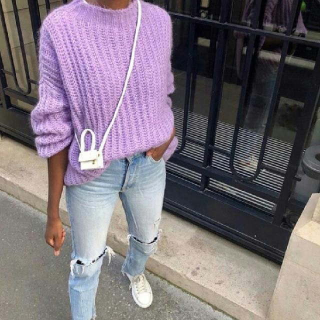 I love purple bright sweaters they are so cool