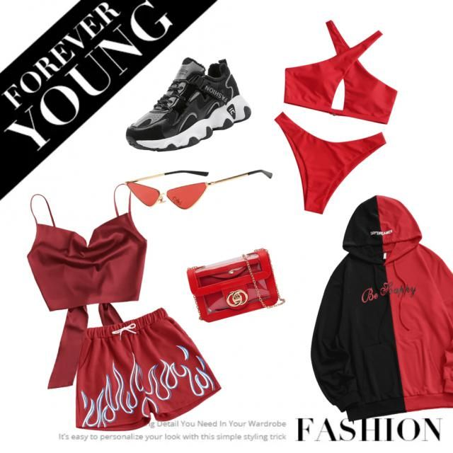 un outfit perfect pentru vară roșu intens cu puțin negru ❤🖤🔥🔥🔥