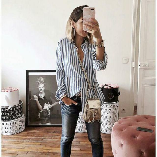 simple and cool striped shirt with skinny jeans