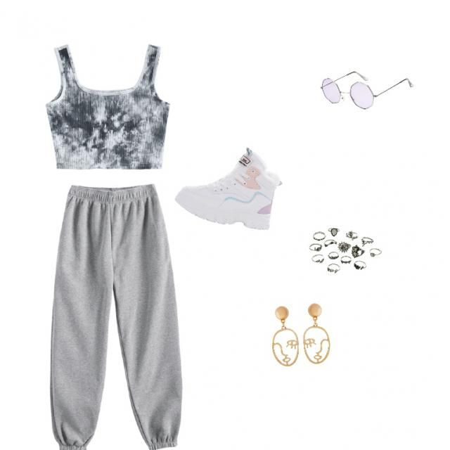 Cropped tank with sweatpants and runners