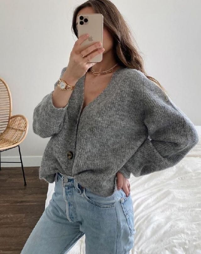 Outfit opportunities are limitless for the button up sweater.♡♡♡