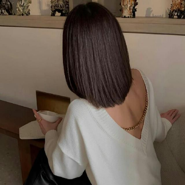 double V neck long sleeve sweater