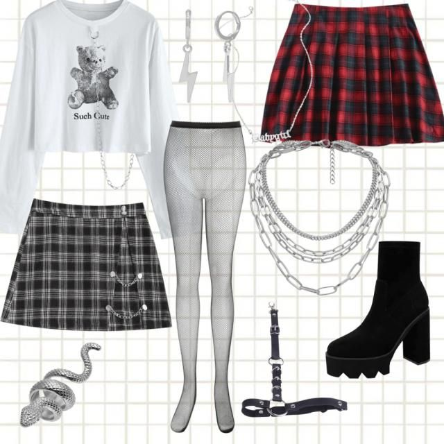 creating this look i thought that it's such a cute edgy look , i added two skirts because they both looked lit with…