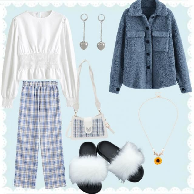blue summertime outfit also make it winter with the cosy teddy jacket.