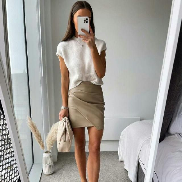 short sleeve sweater with faux leather skirt