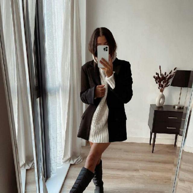 turtleneck sweater dress with long blazer look elegant