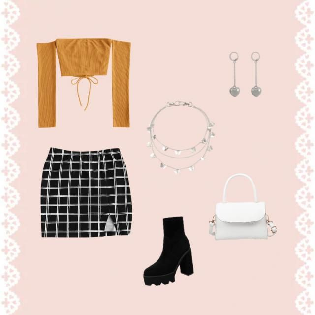 Mini skirt with a off the shoulder crop top!