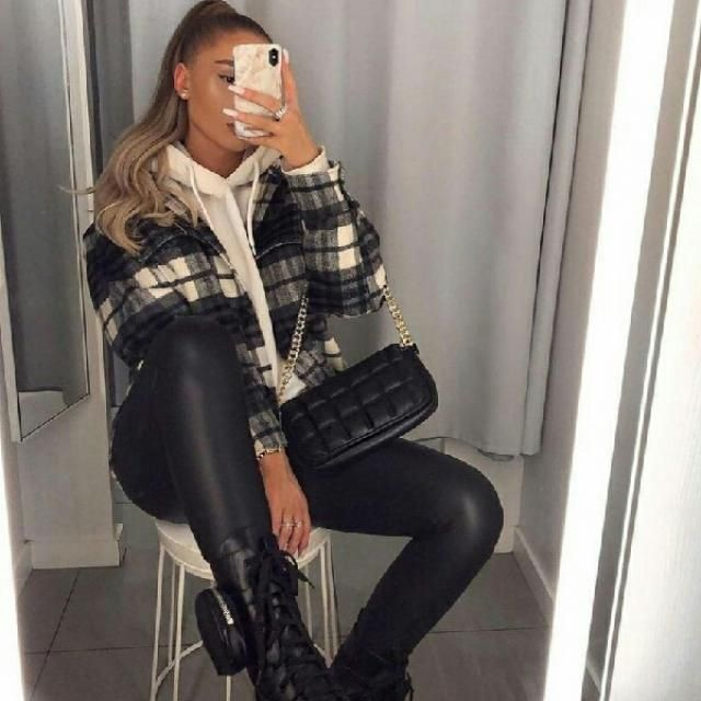casual and cool plaid jacket with faux leather pants