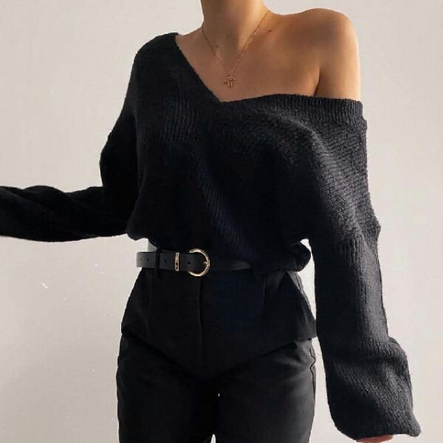 v neck sweater with black pants