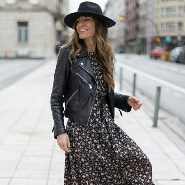 I love this long dress with faux leather jacket