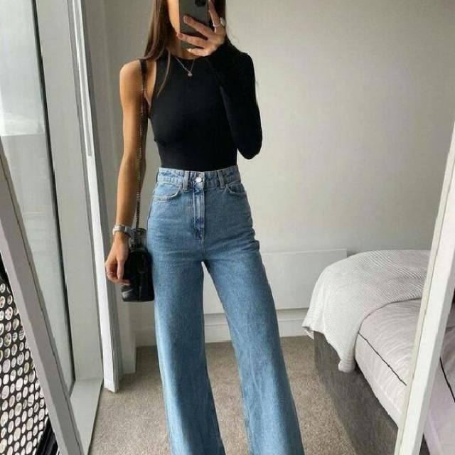 one shoulder top with basic jeans