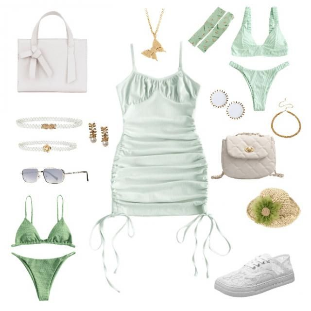 green soft aesthetic dress