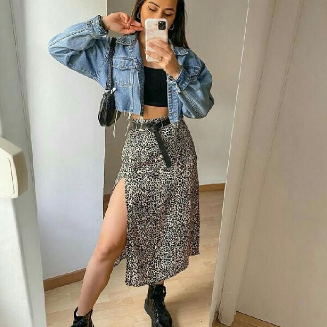 for a stylish casual look pair a denim jacket over black crop top with leopard print skirt and don't forget to add…