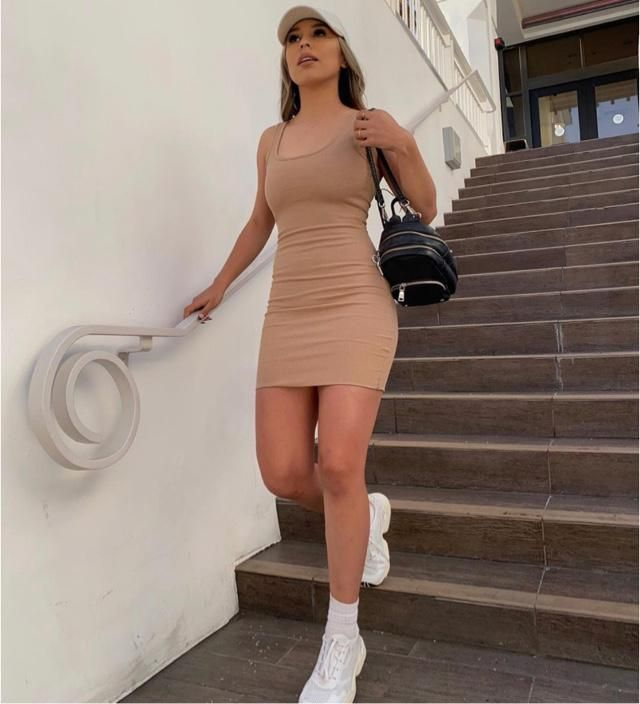 Nude Bodycon dress is pretty! A little obsession for me