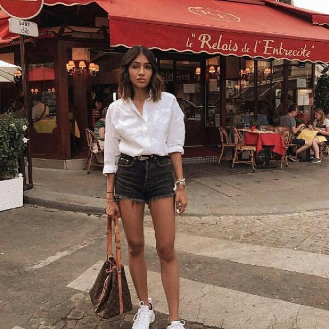 for everyday wear try a white shirt with dark denim shorts