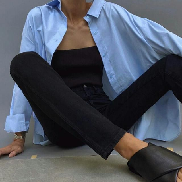 simple and cool with blue long shirt