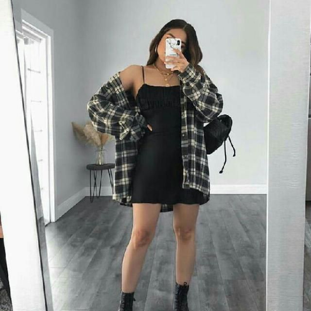 black cami dress with plaid shirt look casual and chic