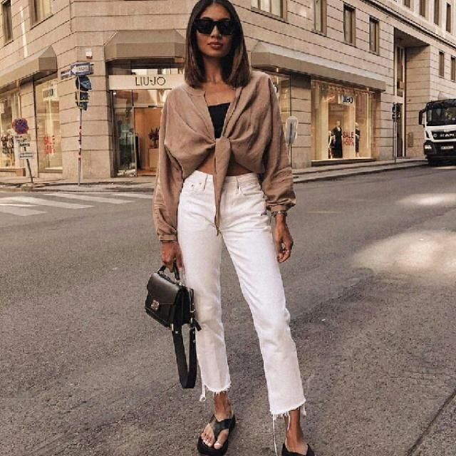 cute wrap blouse with white jeans