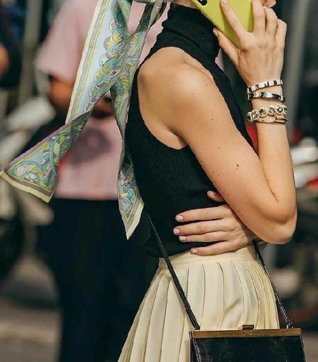 pleated skirt & mock neck top