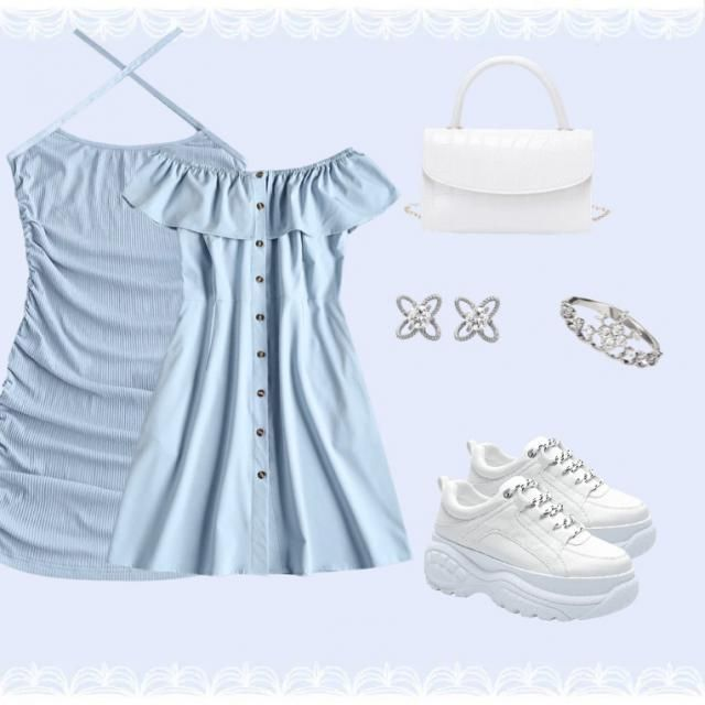 A summery look with a more casual dress for everyday occasions and a more dressy dress for other occasions,