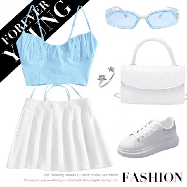 Cute blue spring summer outfit blue top white skirt sunglasses white bag and sneakers