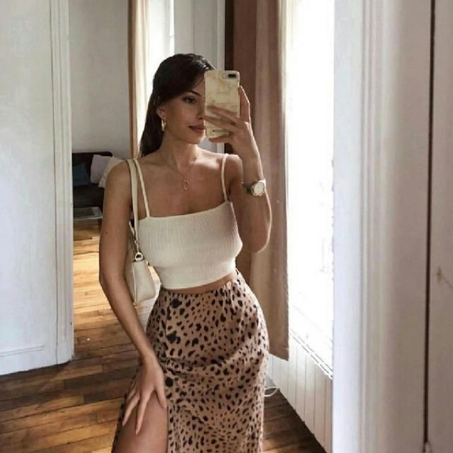 knitted crop top with leopard skirt