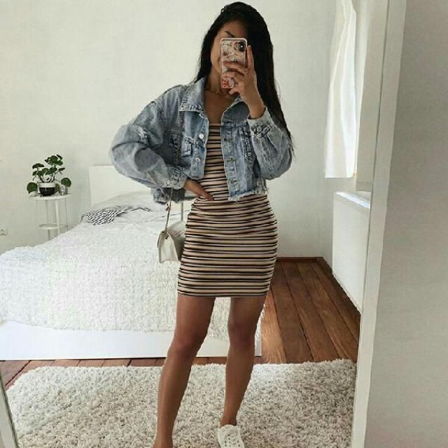 striped bodycon dress with denim jacket