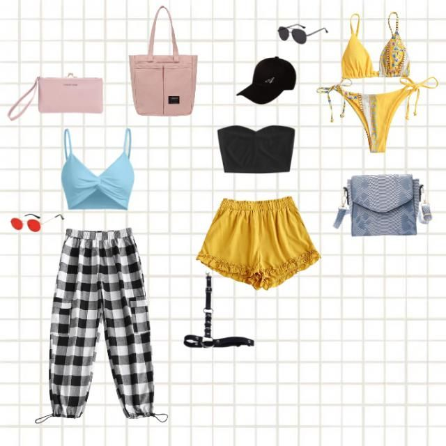 The first look is a cute brunch vibe. Comfy and cute with the teal tank and contrast pink bags, and the second yellow a…