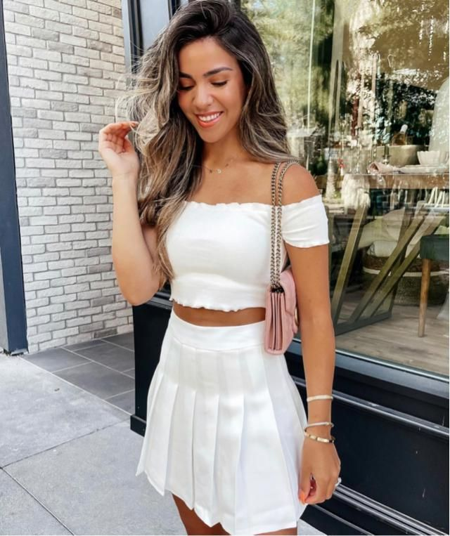 Do you like wearing all white? Specifically this cute crop top and mini skirt