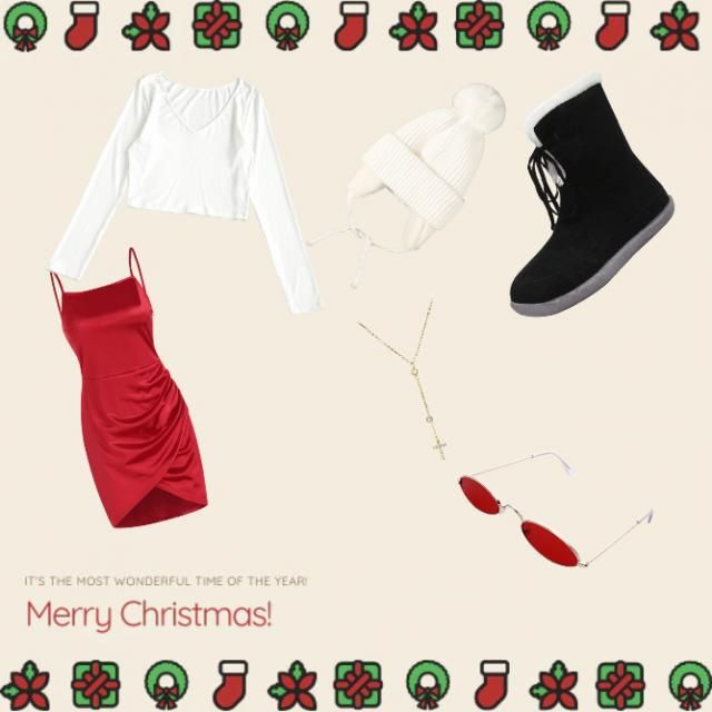 a normal white tee with a silhouette red dress and a beanie for that winter vibes and some black comfort shoes with a c…