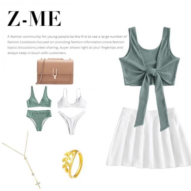 Falda blanca Top verde  Bikini blanco y verde a juego con top y falda  Bolso beige oscuro