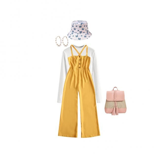this is a light summer outfit in white, yellow, pink and a little blue. I hope you like it!