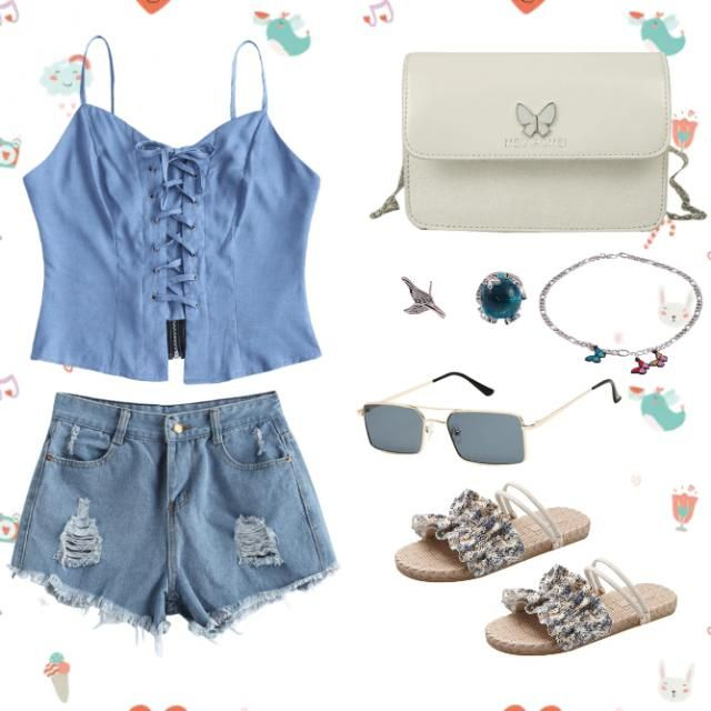 My inspiration for this outfit is designer Ryo, Lace Stitching. I used the color blue and white because it&;s pleasant …