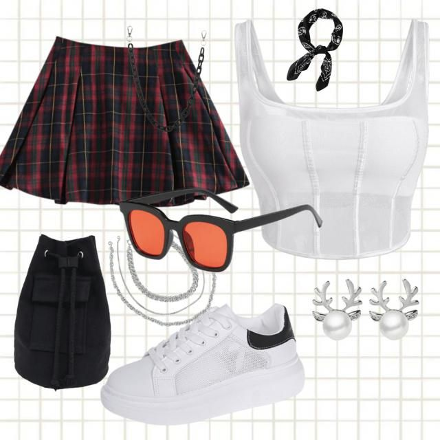 """A """"cool girl"""" look: white top and elegant skirt with some beautiful accessories"""