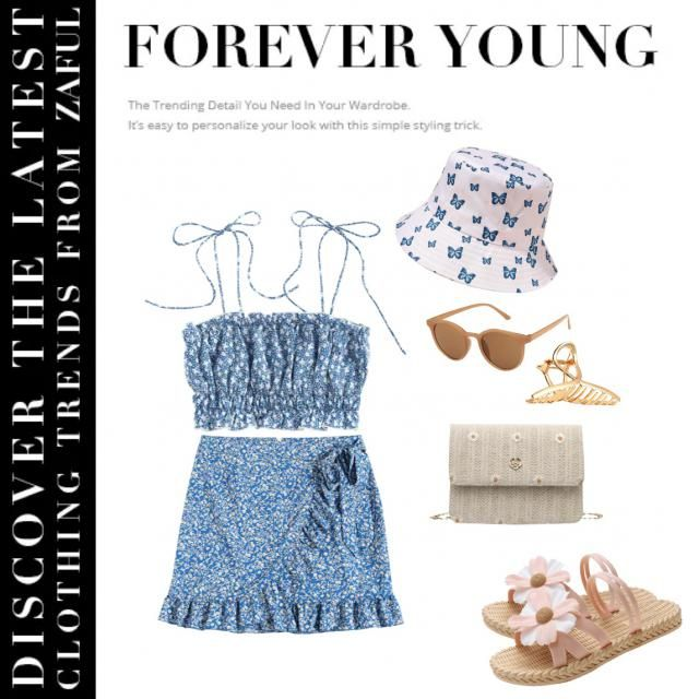 Love to wear a cute blue little top and mini skirt with a butterfly cap this summer! this is a very refreshing look mat…