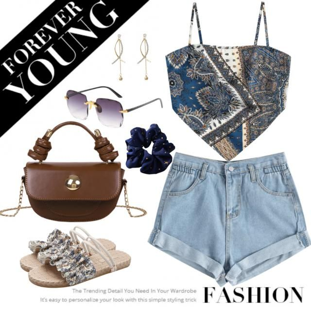 Inspired by a bandana outfit for the summer vibe. Walk with beauty and chic look for this summer attire.
