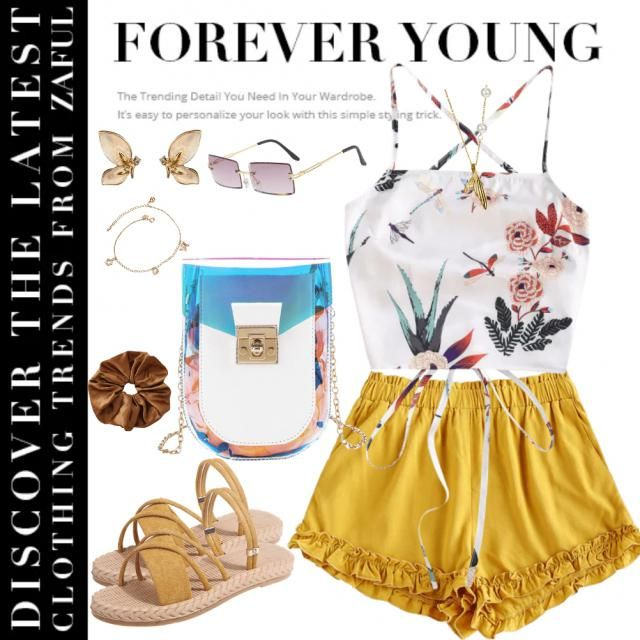 Slay the day with this floral inspired summer outfit matched with stunning yellow raffled short. Beat the heat with …