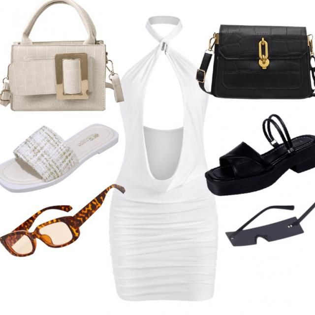 Day and Night outfit with the same dress  White open front mini dress