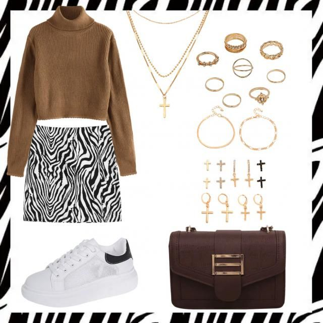 Really cute and easy back to school fit with a bold printed miniskirt 🥰