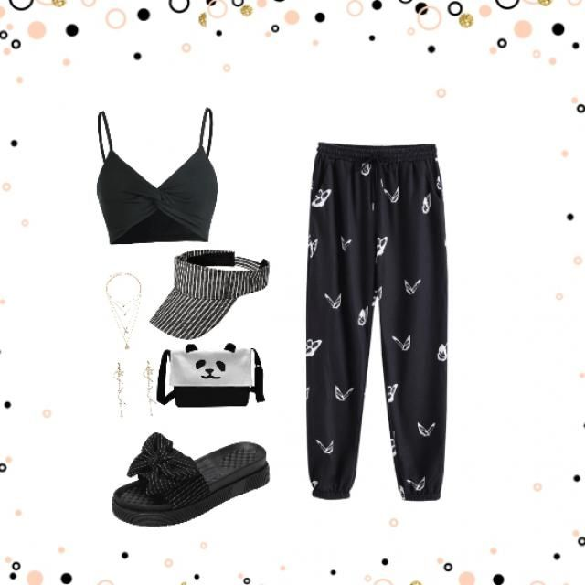 pants cropped top slides space cap jewellery and a bag