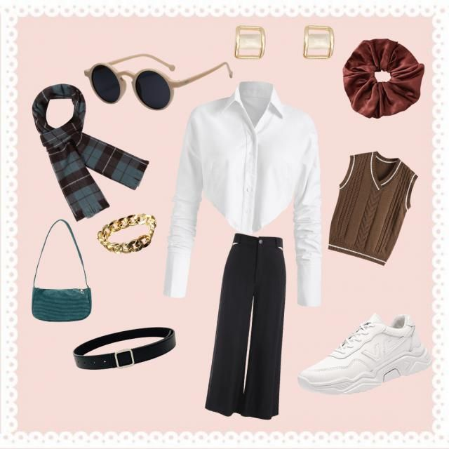 White collared blouse under a brown vest with black wide leg pants. accessories include a black belt, brown scrunchie, …