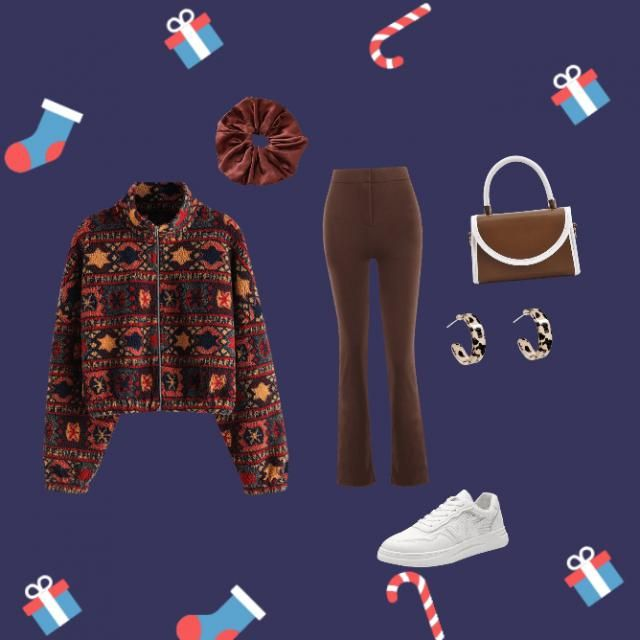 Very cute cozy warm toned outfit for Christmas.
